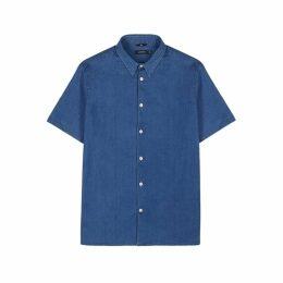 J.Lindeberg Daniel Blue Cotton Chambray Shirt