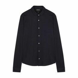 Emporio Armani Navy Mélange Stretch-cotton Shirt