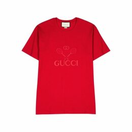 Gucci Red Embroidered Cotton T-shirt