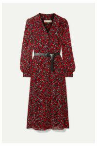 MICHAEL Michael Kors - Belted Printed Georgette Midi Dress - Red