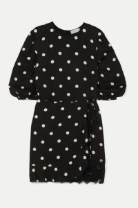 Rebecca Vallance - Penelope Lace-trimmed Ruffled Polka-dot Crepe Mini Dress - Black
