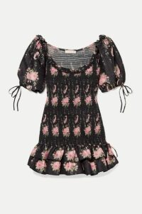LoveShackFancy - Violet Smocked Ruffled Floral-print Silk-voile Mini Dress - Black