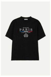 Balenciaga - Embroidered Cotton-jersey T-shirt - Black