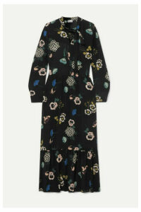 REDValentino - Tie-neck Floral-print Silk Midi Dress - Black