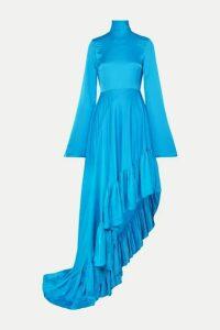 Solace London - Marlee Asymmetric Crepe De Chine Dress - Blue