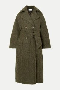 GANNI - Oversized Double-breasted Wool-blend Bouclé Coat - Army green