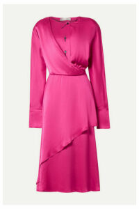 palmer//harding - Mirror Wrap-effect Draped Satin Midi Dress - Fuchsia