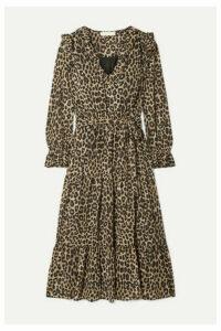 MICHAEL Michael Kors - Belted Ruffled Leopard-print Georgette Midi Dress - Leopard print