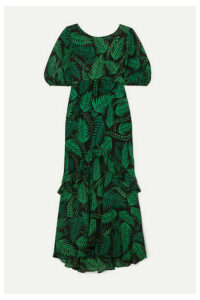 RIXO - Cheryl Ruffled Printed Silk Crepe De Chine Midi Dress - Green