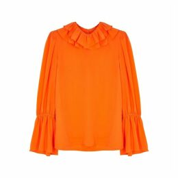 Tory Burch Orange Ruffled Silk Blouse
