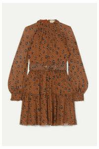 Nicholas - Belted Ruffled Leopard-print Silk-chiffon Mini Dress - Brown