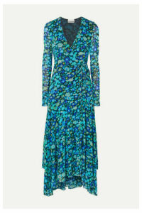 GANNI - Floral-print Stretch-mesh Wrap Midi Dress - Blue