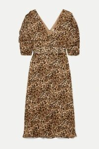 Nicholas - Ruched Belted Leopard-print Silk-chiffon Midi Dress - Leopard print