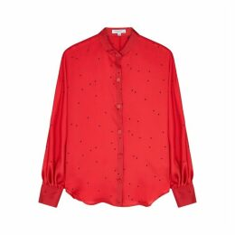 Equipment Gabin Red Star-print Satin Shirt