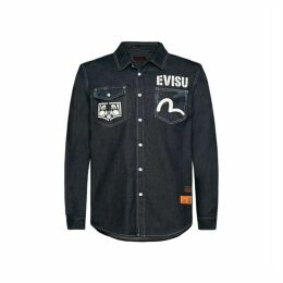 Evisu Denim Shirt With Camouflage Daicock Insert