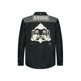 Evisu Geometric Godhead Printed Denim Shirt