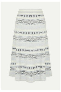 Adam Lippes - Fair Isle Knitted Midi Skirt - Light gray