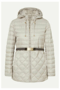 Max Mara - The Cube Hooded Belted Quilted Shell Down Coat - Gray