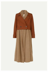 Chloé - Layered Houndstooth Wool Trench Coat - Brown