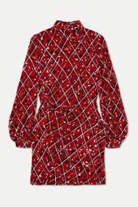 Raquel Diniz - Elle Ruched Printed Velvet Mini Dress - Red