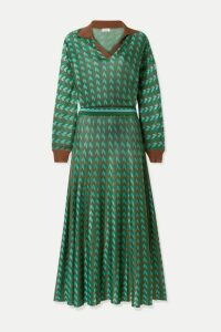 RIXO - Annie Houndstooth Knitted Midi Dress - Green