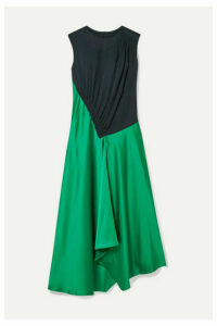 Cédric Charlier - Asymmetric Paneled Crepe And Satin Midi Dress - Green