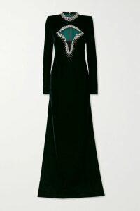 Lela Rose - Faux Pearl-embellished Smocked Crepe Dress - Black