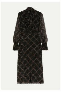 Equipment - Calanne Pussy-bow Printed Silk-georgette Midi Dress - Black