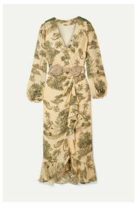 Johanna Ortiz - Al Son Del Tambor Embellished Ruffled Printed Silk-crepe Wrap Dress - Ecru
