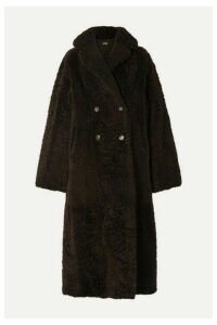 UTZON - Reversible Double-breasted Shearling Coat - Dark brown