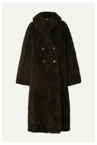 UTZON - Reversible Double-breasted Shearling Coat - Dark brown