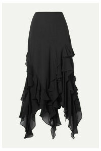 Michael Kors Collection - Asymmetric Ruffled Silk-georgette Skirt - Black