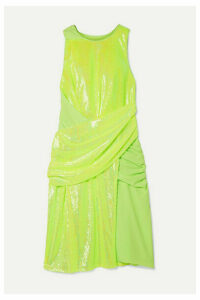 Sies Marjan - Quincy Draped Sequined Tulle And Crepe Dress - Chartreuse