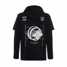 Evisu Kamon Planet Print 2-in-1 Hooded Long Sleeve T-shirt