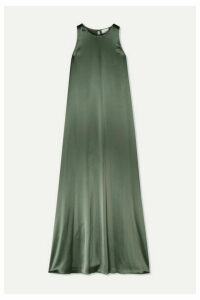 Deveaux - Hammered-satin Gown - Gray green
