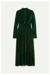 Raquel Diniz - Yang Cutout Silk-velvet Midi Dress - Dark green
