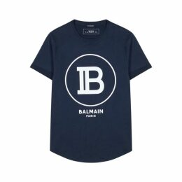 Balmain Navy Logo Cotton T-shirt