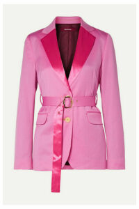 Sies Marjan - Terry Belted Satin-trimmed Wool-twill Blazer - Pink