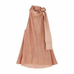 M Missoni Pink Halterneck Metallic-knit Top