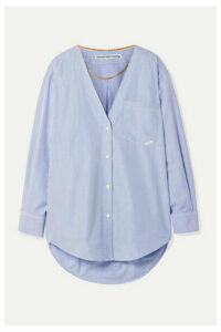 Alexander Wang - Embellished Striped Cotton-poplin Shirt - Blue