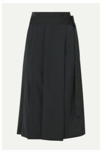 LOW CLASSIC - Pleated Belted Crepe Midi Skirt - Navy