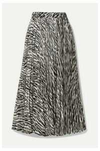 MICHAEL Michael Kors - Pleated Zebra-print Georgette Midi Skirt - Gray