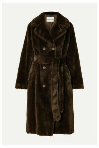 Stand Studios - Faustine Oversized Belted Double-breasted Faux Fur Coat - Brown
