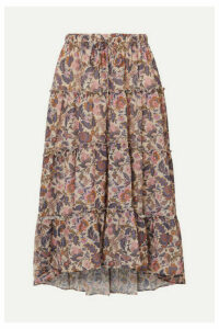 See By Chloé - Ruffled Tiered Floral-print Georgette Midi Skirt - Ecru