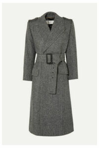 SAINT LAURENT - Belted Herringbone Wool Coat - Gray
