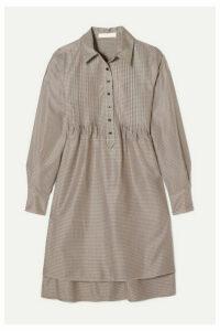 See By Chloé - Pintucked Houndstooth Tweed Dress - Brown