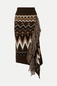 Sacai - Fringed Fair Isle Wool Midi Skirt - Brown
