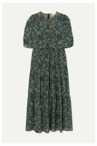 See By Chloé - Tiered Floral-print Georgette Midi Dress - Green