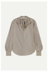 See By Chloé - Ruffled Houndstooth Crepe Blouse - Brown
