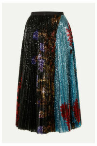 Dries Van Noten - Pleated Sequined Floral-print Tulle Midi Skirt - Black